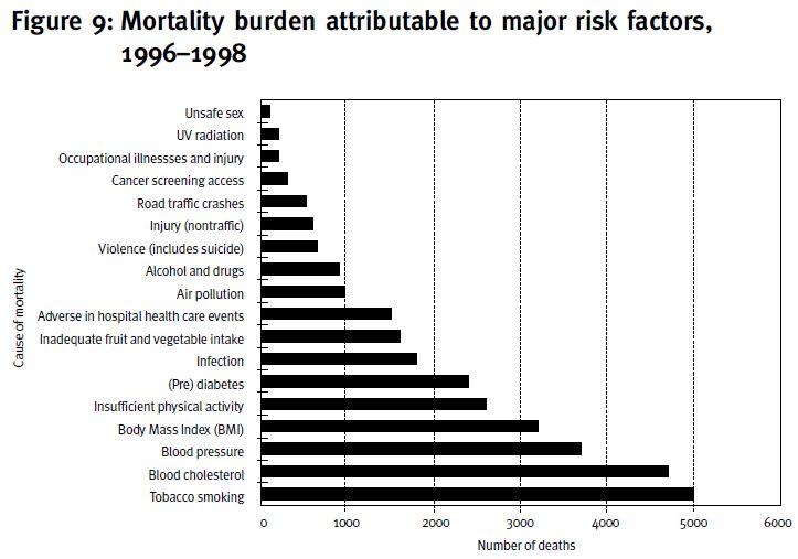 Mortality Burden Risk Factors 1996 to 1998