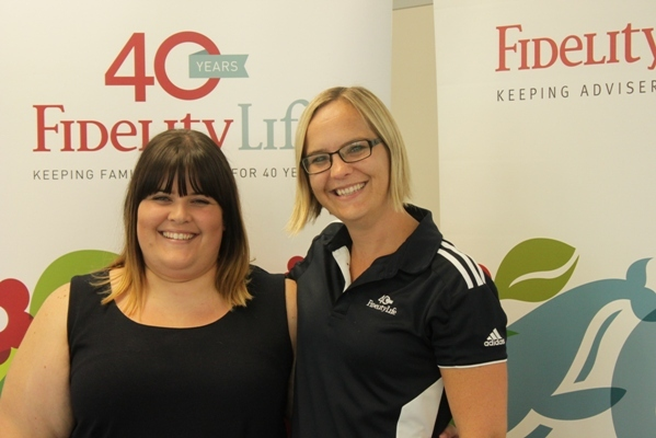 Trina Buckley (left) and Justine Ballantyne before the shave