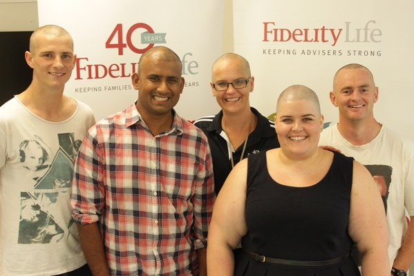 Fidelity Life shavers from left to right Michael Butler, Khan Mohammed, Justine Ballantyne, Trina Buckley, Nigel Tidswell