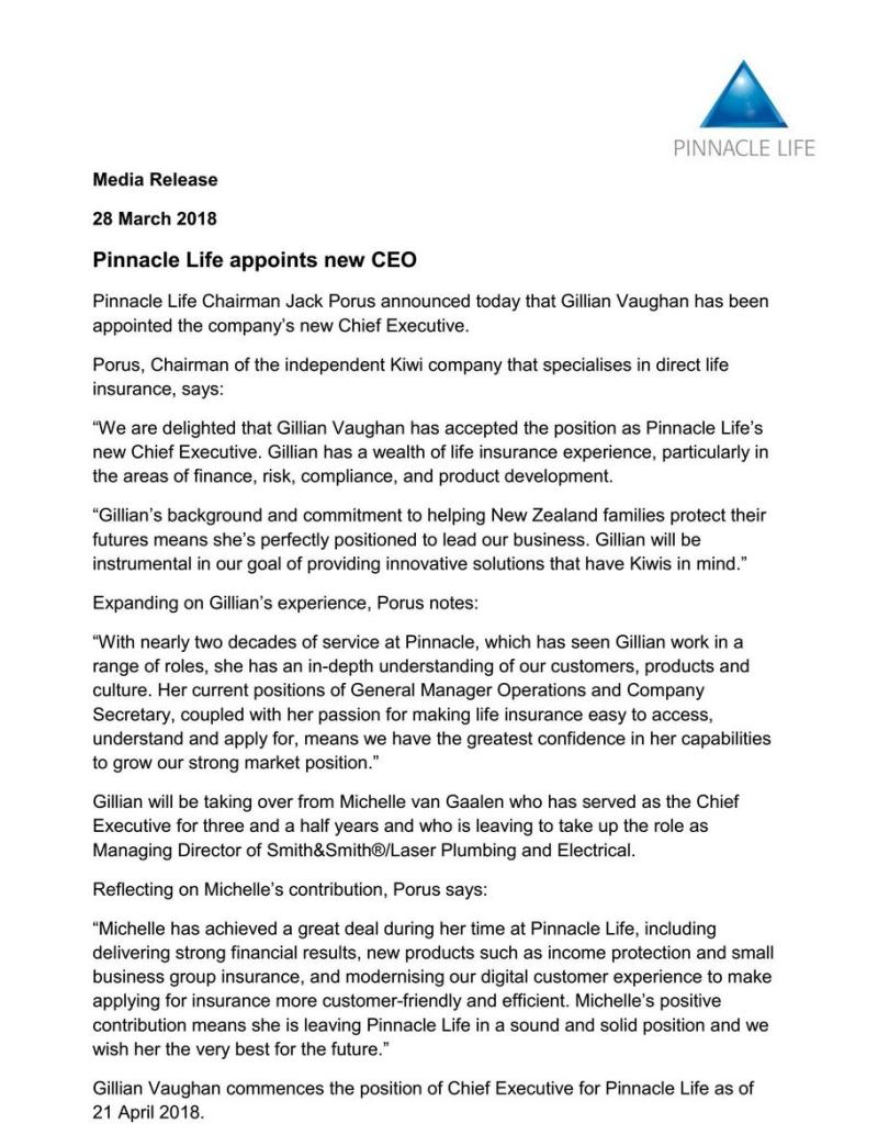 Pinnacle Announcement