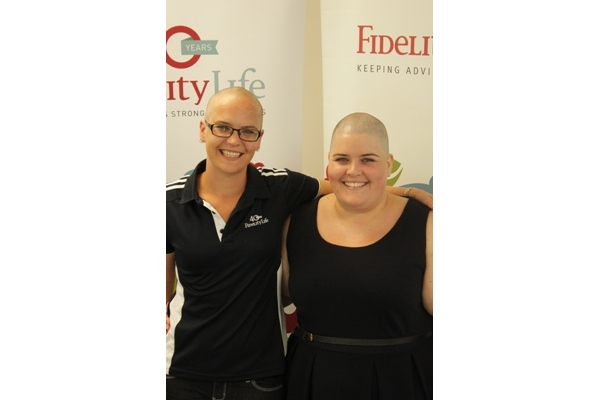 Post-shave – Justine (left) and Trina