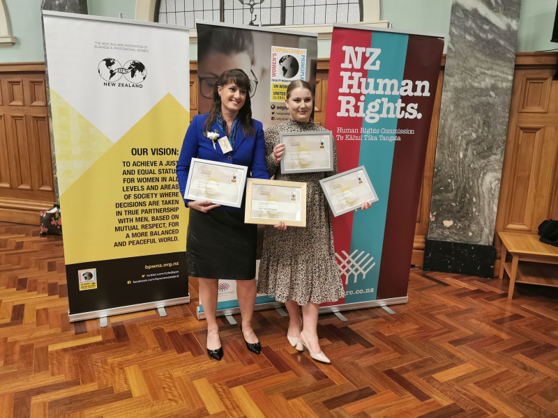 Sharron Botica Chief Customer Officer and Grace MacKinnon Organisation Development Consultant  from AIA collected the four White Camellia Awards
