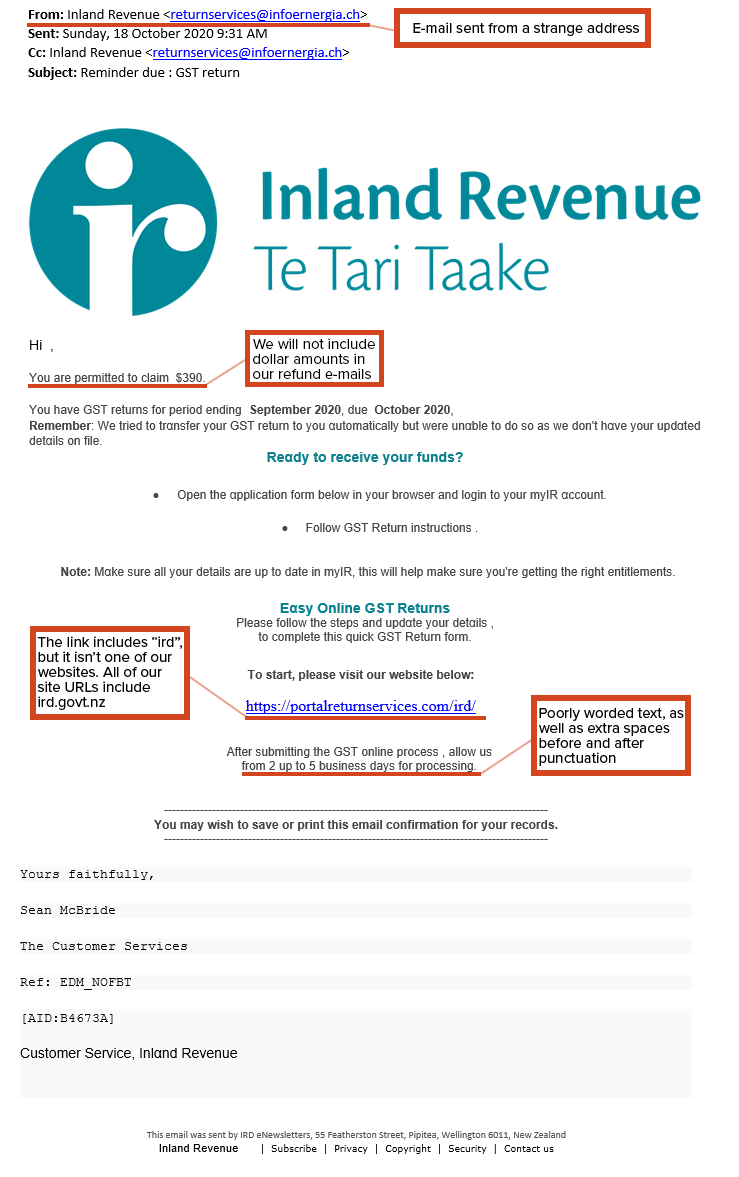 18 October 2020 IRD scam email